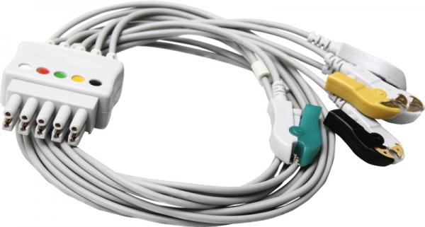 Patientenleitung 5-adrig mit Klammer für Datex